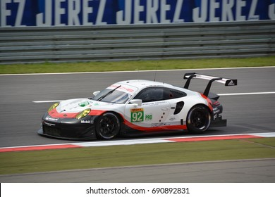 NURBURG, GERMANY - July 14: French race car driver Kevin Estre driving the No. 92 Porsche GT Team 911 RSR during round 4 of the FIA WEC on July 14, 2017 at Nurburg, Germany.