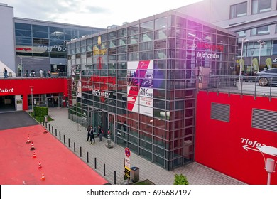 Nurburg, Germany - May 20, 2017: Race track Nurburgring - info center, entrance - modern glass facade building