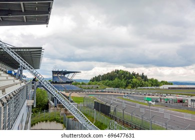 Nurburg, Germany - May 20, 2017: Race track Nurburgring - stands for spectators, Mercedes stand (Mercedes Tribune) in background