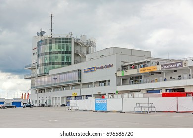 Nurburg, Germany - May 20, 2017: Media center and TUV Tower at race track Nurburgring - view from pit lane.