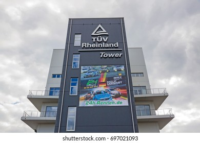 Nurburg, Germany - May 20, 2017: TUV Rheinland Tower at race track Nurburgring - view from pit lane.