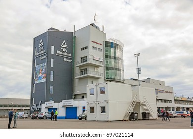 Nurburg, Germany - May 20, 2017: TUV Rheinland Tower and Media Center at race track Nurburgring - view from pit lane.