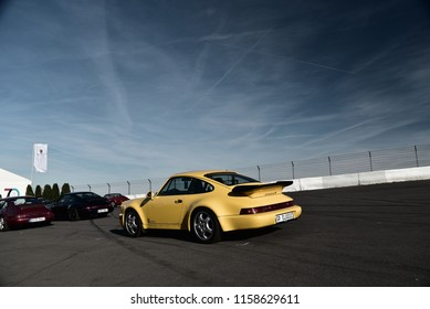 Nurburgring, Germany - August 12 2018, AvD Oldtimer Grand Prix Yellow Porsche 911.