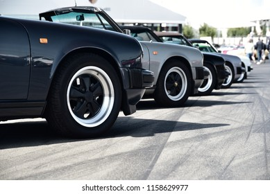 Nurburgring, Germany - August 12 2018: Row of Porsche 911 at AvD Oldtimer Grand Prix.