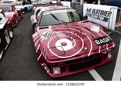 Nurburgring, Germany - August 12 2018: AvD Oldtimer Grand Prix BMW M1 Race Car with BASF livery