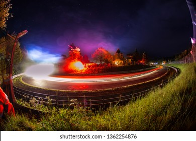 NURBURGRING GERMANY MAY 29, 2016 24h Race long time bulb exposure shot  Schwalbenschwanz corner