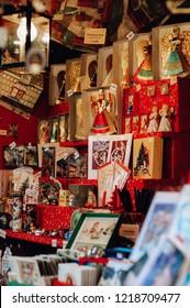 Nuremberg, Bavaria / Germany - 12 18 2009: Traditional vintage handmade tinsel angel dolls, so called Rauschgoldengel, made of gold foil, a Christmas decoration or souvenir from the Christkindlesmarkt
