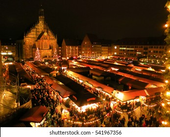NUREMBERG - BAVARIA / GERMANY - DECEMBER 12, 2015: Perfect view to the Christkindlesmarkt in Nuremberg