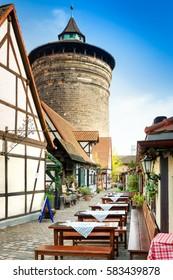 Nuremberg Beer Garden and Tower, Germany