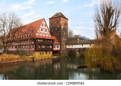 Nuremberg, Bridge over the Pegnitz River and Water tower in winter day , Germany