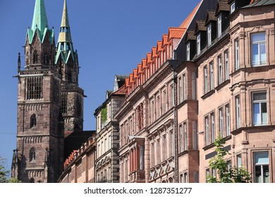 Nuremberg city in Germany (region of Middle Franconia). St. Lorenz (Saint Lawrence) church and residential architecture.