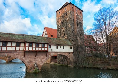 Nuremberg city, Germany - River Pegnitz architecture with Henkerbrige.