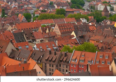 Nuremberg City View with orange roofs in spring, Germany.