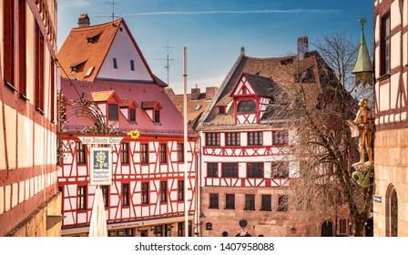 NUREMBERG, GERMANY - 1 MARCH, 2019: Houses in the old town of Nuremberg