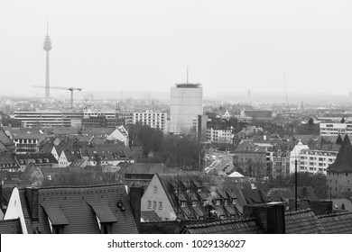 Nuremberg, Germany - 17.02.2018 : old town houses, cityscape Black&White