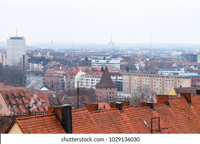 Nuremberg, Germany - 17.02.2018 : old town houses, cityscape close up