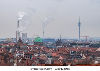 Nuremberg, Germany - 17.02.2018 :Roofs of Nuremberg, Bavaria, Germany, Western Europe
