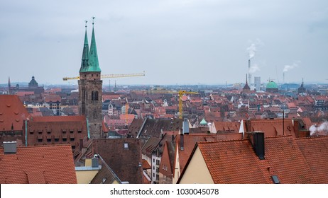 Nuremberg, Germany - 17.02.2018 :Roofs of Nuremberg,old town houses, cityscape, Bavaria, Germany, Western Europe 16:9