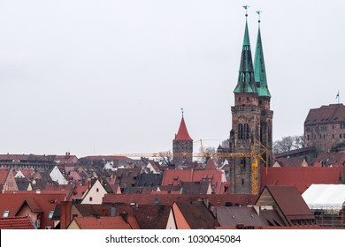 Nuremberg, Germany - 17.02.2018 :Roofs of Nuremberg,old town houses, cityscape, Bavaria, Germany, Western Europe