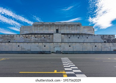 NUREMBERG, GERMANY, 28 JULY 2020: Remains of the Zeppelinfeld grandstand in Nuremberg, Germany. It is the grandstand from which Adolf Hitler made speeches during Nazi Party Rallies from 1933-38.