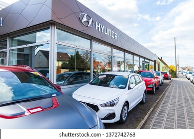 NUREMBERG / GERMANY - APRIL 7, 2019: Hyundai logo on a Hyundai car dealer in Nuremberg. The Hyundai Motor Company is a South Korean multinational automotive manufacturer headquartered in Seoul.