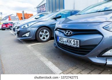 NUREMBERG / GERMANY - APRIL 7, 2019: Hyundai logo on a Hyundai car at a car dealer. The Hyundai Motor Company is a South Korean multinational automotive manufacturer headquartered in Seoul.