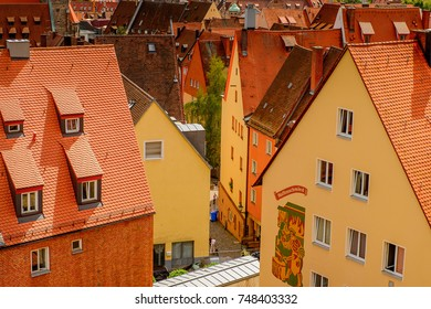 NUREMBERG, GERMANY - AUG 5, 2017: Architecture of Nuremberg, the largest in town in Franconia, Bavaria state, Germany