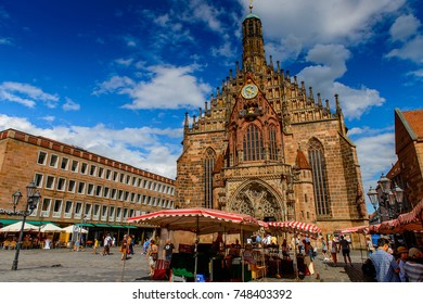 NUREMBERG, GERMANY - AUG 5, 2017: Our Lady's Church of Nuremberg, the largest in town in Franconia, Bavaria state, Germany