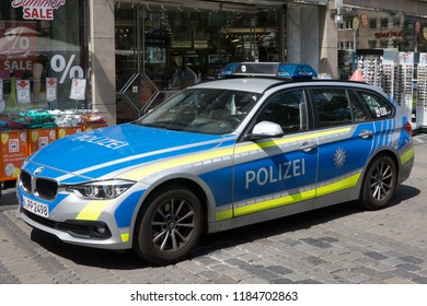 NUREMBERG, GERMANY - AUGUST 3, 2018: A Bavarian State Police car in Nuremberg. The Bavarian State Police has approximately 33,500 armed officers and roughly 8,500 other civilian employees in Germany.