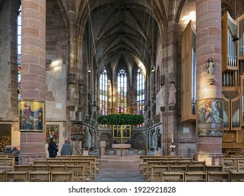 NUREMBERG, GERMANY - DECEMBER 13, 2017: Interior of Frauenkirche (Church of Our Lady). The church was built in 1352-1362. There are numerous works of art from the Middle Ages in the interior.