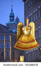 NUREMBERG, GERMANY - DECEMBER 15, 2013: Christmas decoration on the streets of the city
