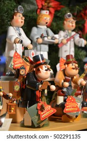 NUREMBERG, GERMANY - DECEMBER 15, 2013: Typical wooden dolls, exposed inside a shop with Christmas items