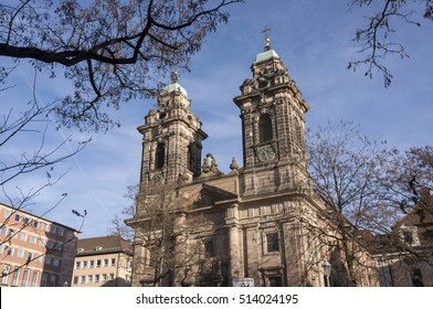NUREMBERG, GERMANY - DECEMBER 17, 2013: Perspective view of the church of Egidien, in the historical center of the city