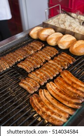 NUREMBERG, GERMANY - DECEMBER 17, 2013: Different types of sausages, on the grill of a food stand, in the Christmas market