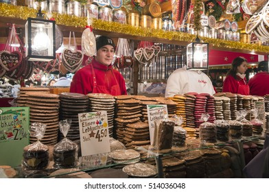 NUREMBERG, GERMANY - DECEMBER 17, 2013: Shop for biscuits and typical sweets, in the Christmas market