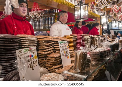 NUREMBERG, GERMANY - DECEMBER 17, 2013: Stand with sweets and typical lebkuchen, in the Christmas market