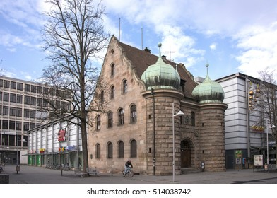 NUREMBERG, GERMANY - DECEMBER 17, 2013: View of the old arsenal building, in the historical city center