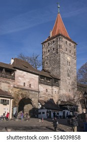 NUREMBERG, GERMANY - DECEMBER 17, 2013: Defense tower, walls and one of the entrance gates to the imperial castle