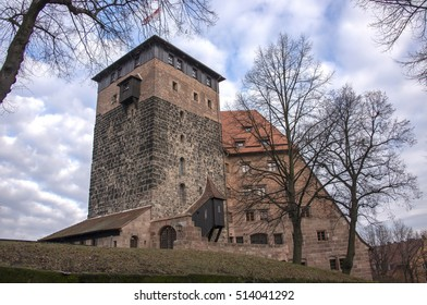 NUREMBERG, GERMANY - DECEMBER 17, 2013: Tower and buildings inside the imperial castle