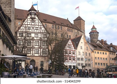 NUREMBERG, GERMANY - DECEMBER 17, 2013: Medieval buildings and view of the imperial castle
