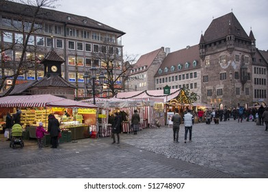 NUREMBERG, GERMANY - DECEMBER 18, 2013: Shops with Christmas products, on the streets of the city