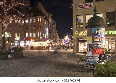 NUREMBERG, GERMANY - DECEMBER 18, 2013: Night view of the squares and shopping streets of the city