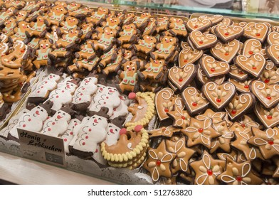 NUREMBERG, GERMANY - DECEMBER 18, 2013: Typical gingerbread cookies, at a Christmas market stall