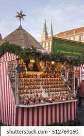 NUREMBERG, GERMANY - DECEMBER 18, 2013: Original craft shop, in the Christmas market of the city