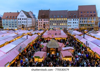 NUREMBERG -  GERMANY - DECEMBER 2, 2017: view of the Christkindlesmarkt, a Christmas market in the Hauptmarkt, the central square in Nuremberg old town, Germany.