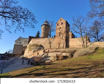Nuremberg, Germany - January 01, 2020: The Nuremberg Imperial Castle (Kaiserburg) and its Sinnwell tower from Holy Roman Empire - one of the main sights of the city and symbol of Nuremberg, Germany