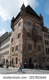 Nuremberg, Germany - July 3, 2021: Nassauer Haus (also known as Schlüsselfelder Haus), a medieval tower house in the old town.