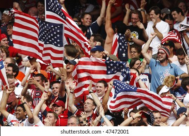 NUREMBERG, GERMANY - JUNE 22:  USA supporters celebrate a goal against Ghana during a 2006 FIFA World Cup soccer match June 22, 2006 in Nuremberg, Germany.