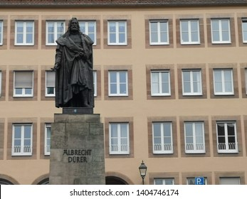 Nuremberg, Germany: March 2, 2019 -The Albrecht-Dürer monument was the first monument in Germany to be erected in honor of an artist, designed by Christian Rauch and cast by Jacob Burgschmiet.