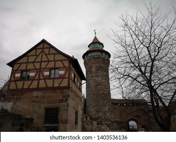 Nuremberg, Germany: March 3, 2019 - Sinwell Tower and Deep Well house, The two-storey building dates according to the inscription from 1563. The well was the highlight of Nuremberg Castle for tourists
